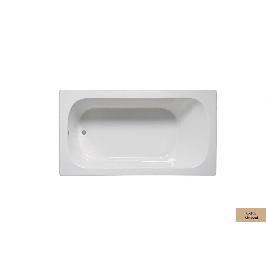 Laurel Mountain Butler Iii Almond Acrylic Rectangular Drop-in Bathtub with Reversible Drain (Common: 36-in x 66-in; Actual: 22-in x 36-in x 66-in