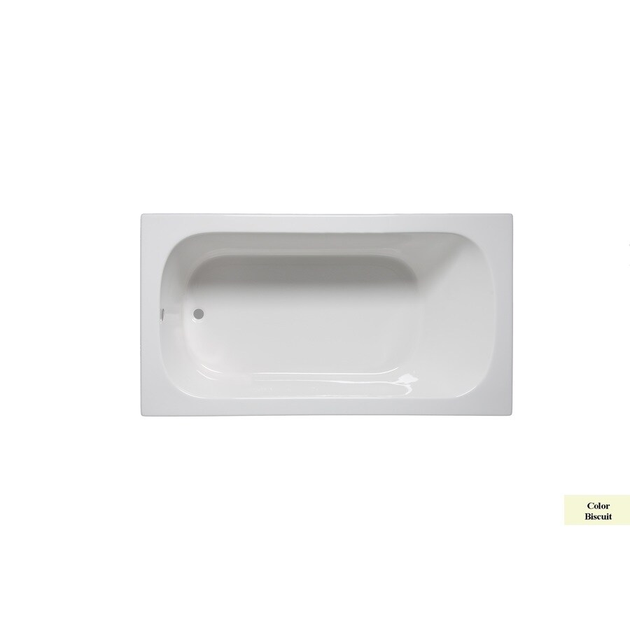 Laurel Mountain Butler III 66-in Biscuit Acrylic Drop-In Bathtub with Reversible Drain