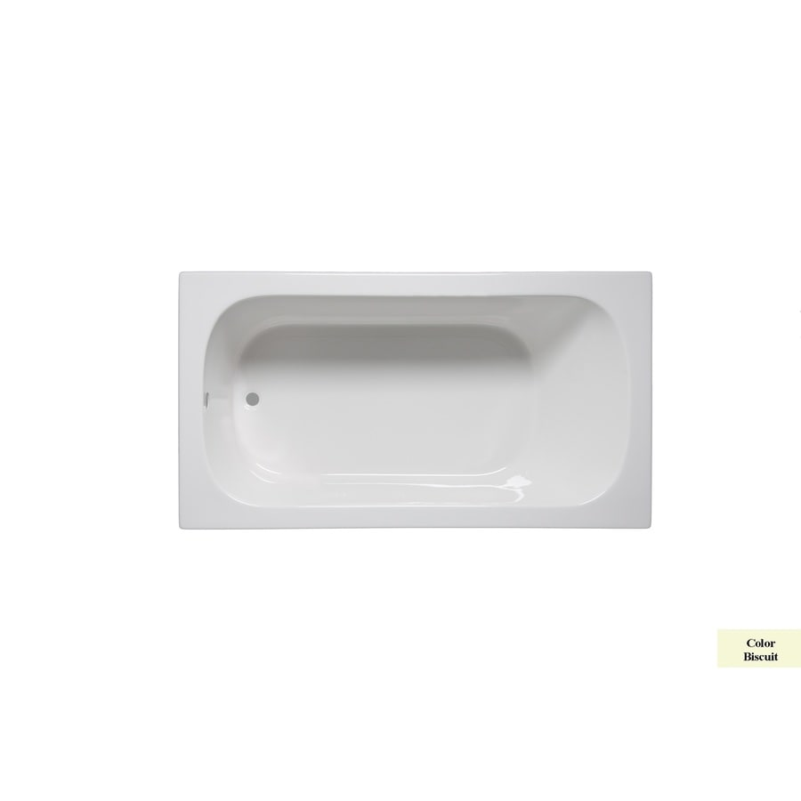 Laurel Mountain Butler IV 72-in Biscuit Acrylic Drop-In Bathtub with Reversible Drain