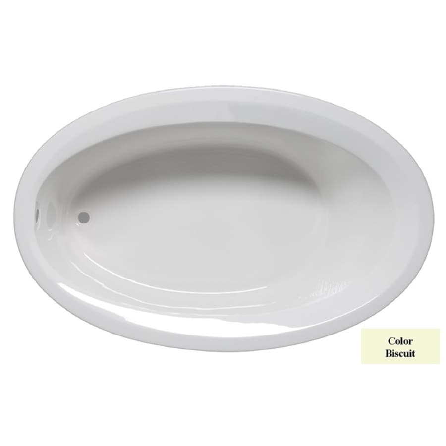 Laurel Mountain Corry I Biscuit Acrylic Oval Drop-in Bathtub with Reversible Drain (Common: 40-in x 60-in; Actual: 18-in x 40-in x 60-in