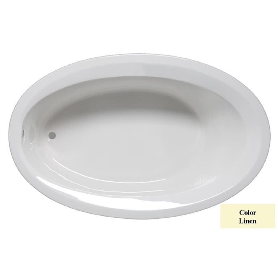 Laurel Mountain Corry Ii Linen Acrylic Oval Drop-in Bathtub with Reversible Drain (Common: 42-in x 60-in; Actual: 22-in x 42-in x 60-in