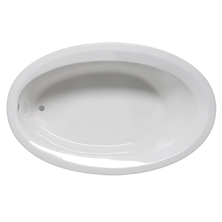 Laurel Mountain Corry Iv White Acrylic Oval Drop-in Bathtub with Reversible Drain (Common: 42-in x 72-in; Actual: 22-in x 42-in x 72-in