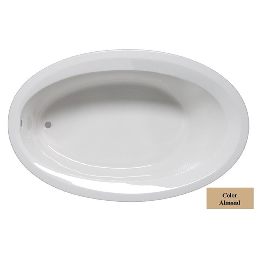 Laurel Mountain Corry Iv Almond Acrylic Oval Drop-in Bathtub with Reversible Drain (Common: 42-in x 72-in; Actual: 22-in x 42-in x 72-in