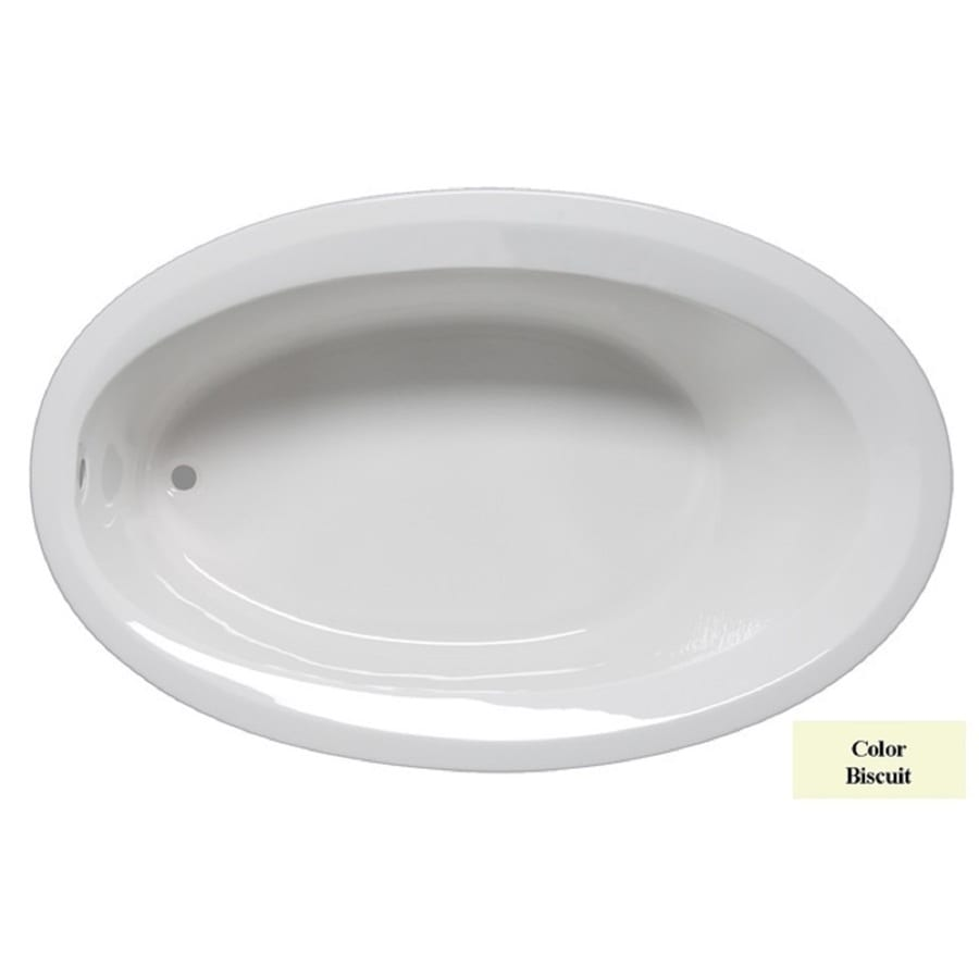 Laurel Mountain Corry Iv Biscuit Acrylic Oval Drop-in Bathtub with Reversible Drain (Common: 42-in x 72-in; Actual: 22-in x 42-in x 72-in
