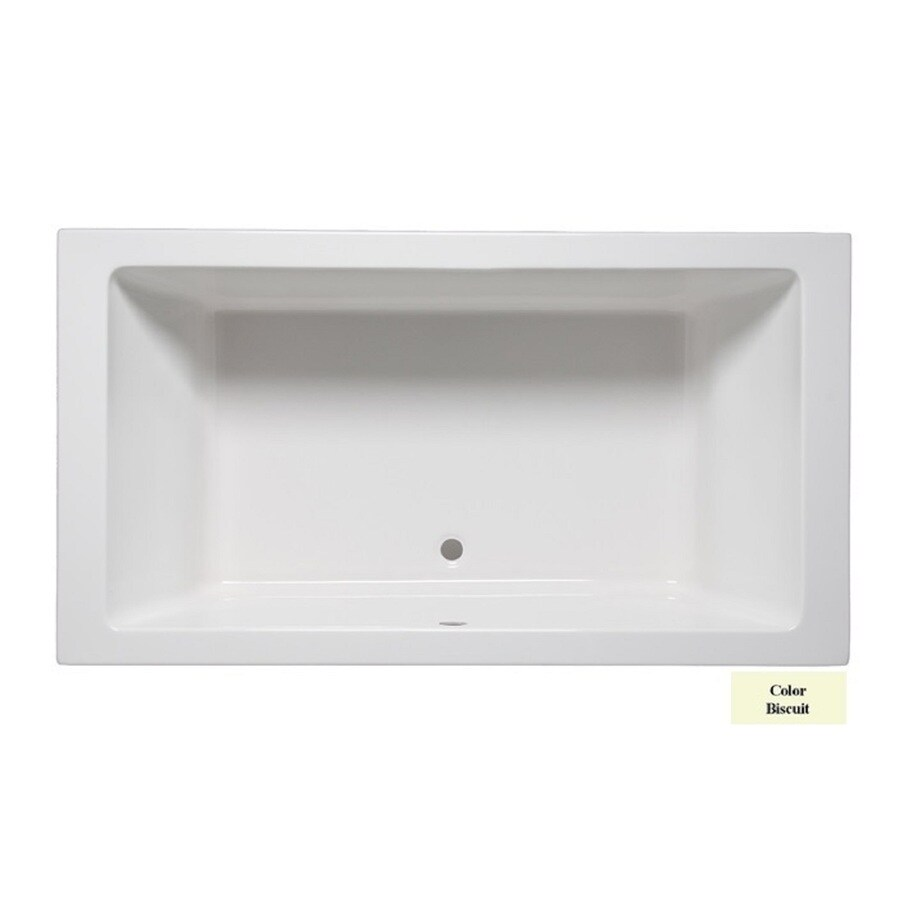 Laurel Mountain Farrell Ii Biscuit Acrylic Rectangular Drop-in Bathtub with Front Center Drain (Common: 36-in x 72-in; Actual: 22-in x 36-in x 72-in
