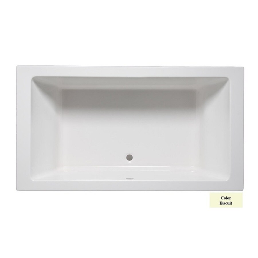 Laurel Mountain Farrell III 66-in Biscuit Acrylic Drop-In Bathtub with Front Center Drain