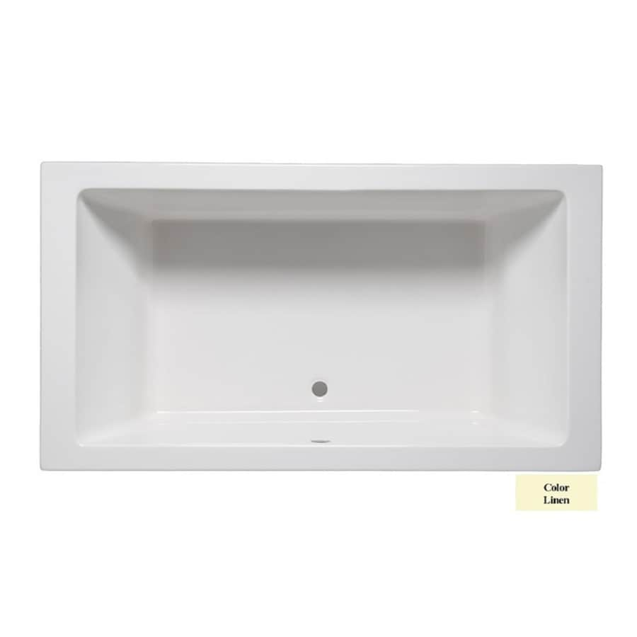 Laurel Mountain Farrell III 66-in Linen Acrylic Drop-In Bathtub with Front Center Drain