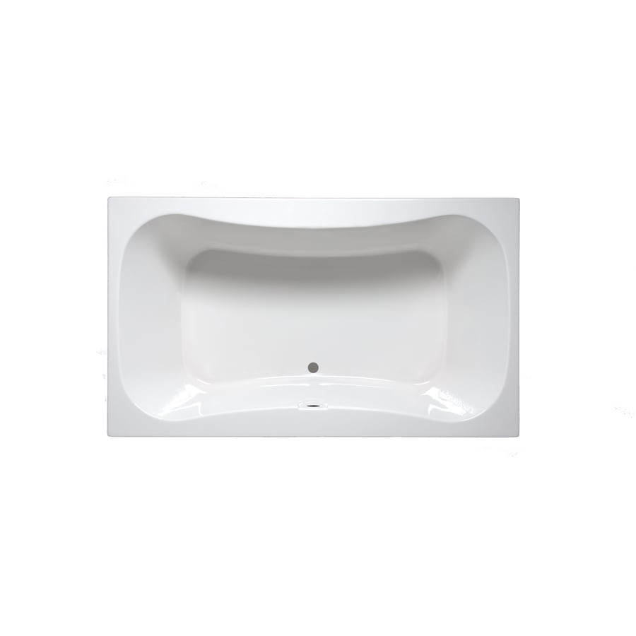 Laurel Mountain Masten I White Acrylic Hourglass In Rectangle Drop-in Bathtub with Center Drain (Common: 42-in x 60-in; Actual: 22-in x 42-in x 60-in