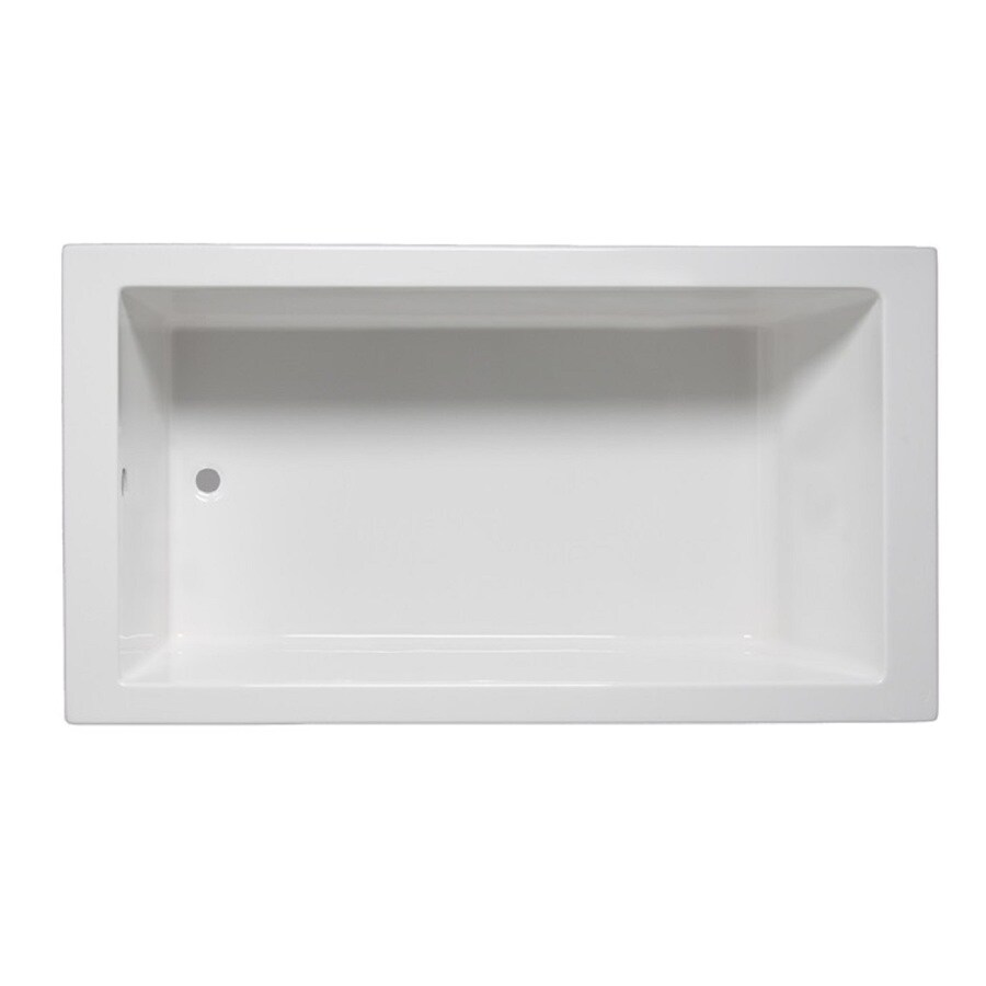 Laurel Mountain Parker I 60-in White Acrylic Drop-In Bathtub with Reversible Drain