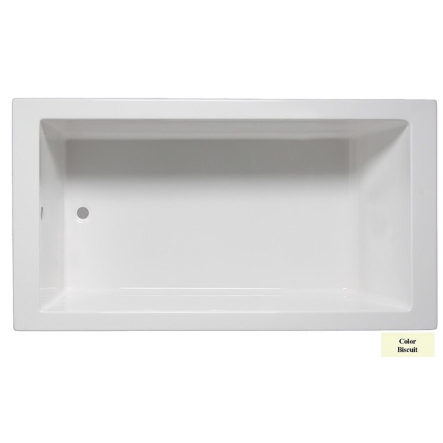 Laurel Mountain Parker I 60-in Biscuit Acrylic Drop-In Bathtub with Reversible Drain