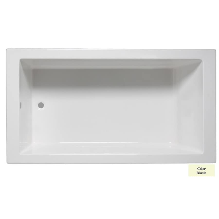 Laurel Mountain Parker I Biscuit Acrylic Rectangular Drop-in Bathtub with Reversible Drain (Common: 30-in x 60-in; Actual: 22-in x 30-in x 60-in