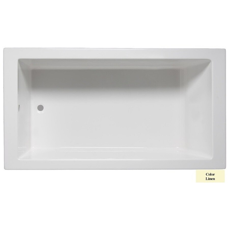 Laurel Mountain Parker Iv Linen Acrylic Rectangular Drop-in Bathtub with Reversible Drain (Common: 32-in x 72-in; Actual: 22-in x 32-in x 72-in
