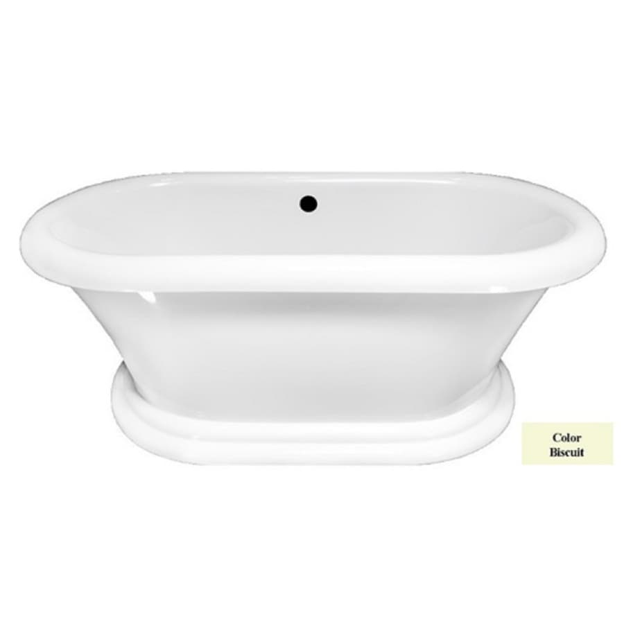 Laurel Mountain Sunbury Ii Biscuit Acrylic Oval Pedestal Bathtub with Front Center Drain (Common: 35-in x 71-in; Actual: 25-in x 35-in x 71-in