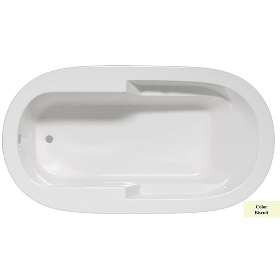 Laurel Mountain Venango Biscuit Acrylic Oval Drop-in Bathtub with Reversible Drain (Common: 42-in x 72-in; Actual: 22-in x 42-in x 72-in