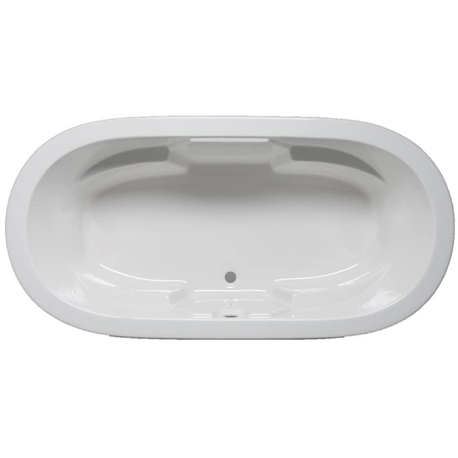 Laurel Mountain Warren White Acrylic Oval Drop-in Bathtub with Front Center Drain (Common: 36-in x 72-in; Actual: 22-in x 36-in x 72-in