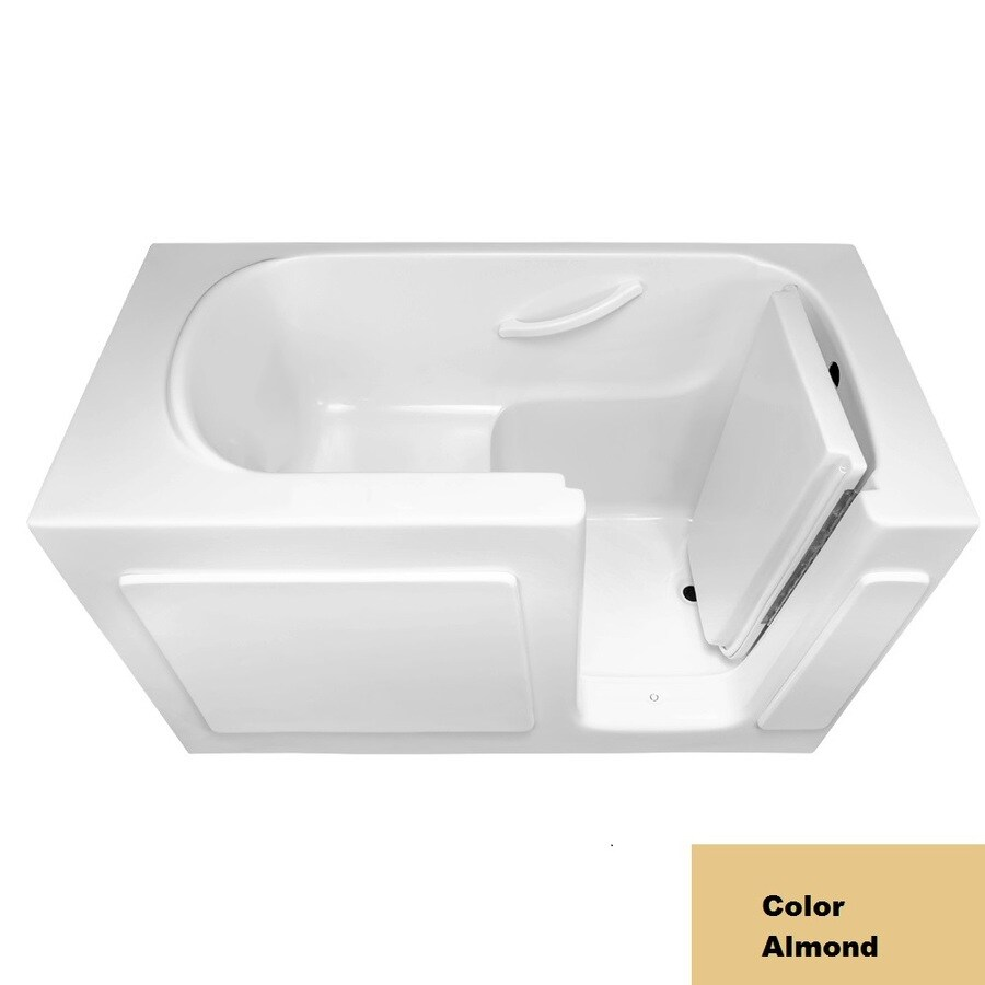Laurel Mountain Westmont Almond Gelcoat/Fiberglass Rectangular Walk-in Bathtub with Right-Hand Drain (Common: 30-in x 54-in; Actual: 38-in x 30-in x 54-in
