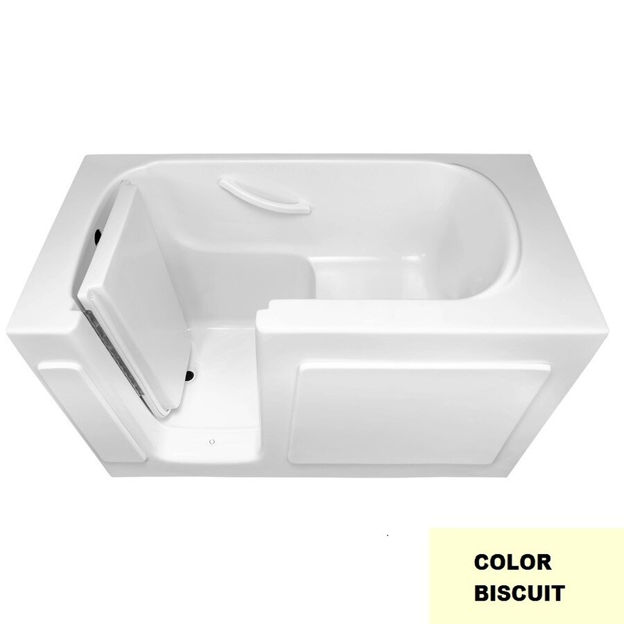 Laurel Mountain Westmont Biscuit Gelcoat/Fiberglass Rectangular Walk-in Bathtub with Left-Hand Drain (Common: 30-in x 54-in; Actual: 38-in x 30-in x 54-in