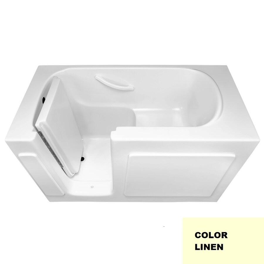 Laurel Mountain Westmont Linen Gelcoat/Fiberglass Rectangular Walk-in Bathtub with Left-Hand Drain (Common: 30-in x 54-in; Actual: 38-in x 30-in x 54-in