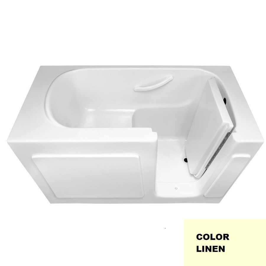 Laurel Mountain Westmont Linen Gelcoat/Fiberglass Rectangular Walk-in Bathtub with Right-Hand Drain (Common: 30-in x 60-in; Actual: 38-in x 30-in x 60-in