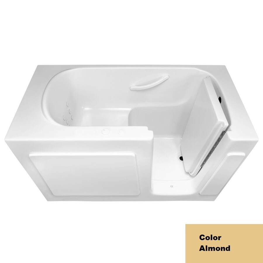 Laurel Mountain Westmont Almond Acrylic Rectangular Walk-in Whirlpool Tub (Common: 30-in x 54-in; Actual: 38-in x 30-in x 54-in)