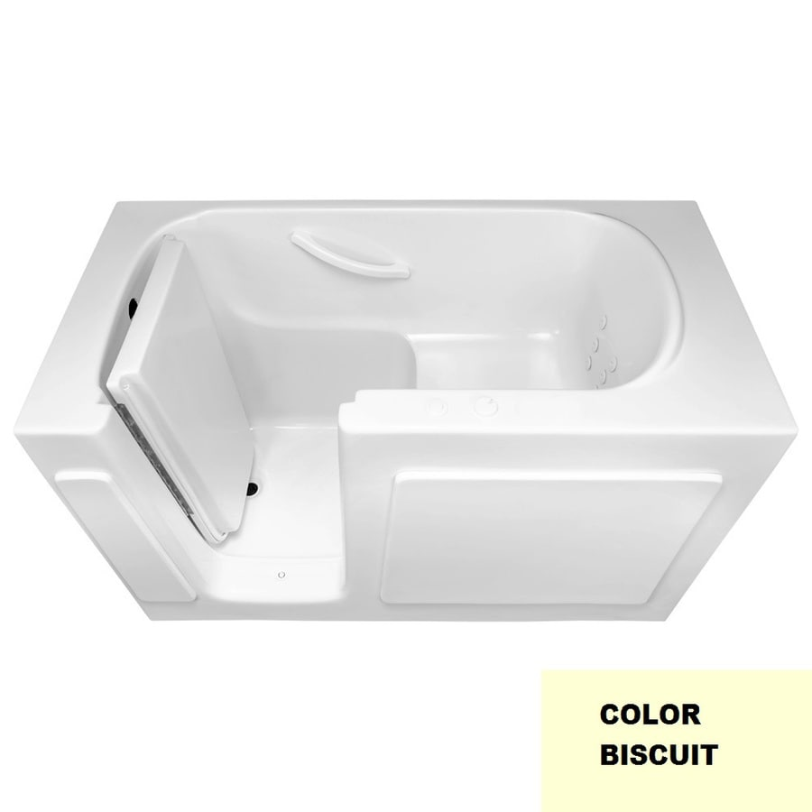 Laurel Mountain Westmont 54-in Biscuit Acrylic Walk-In Whirlpool Tub with Left-Hand Drain