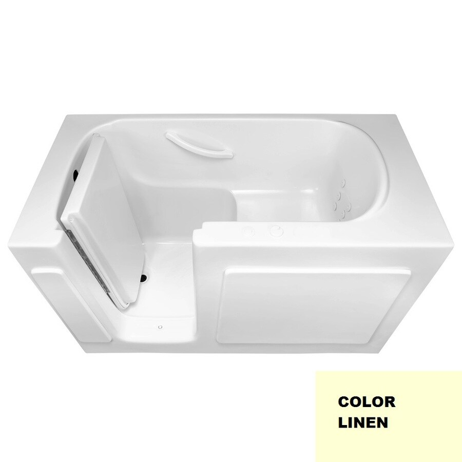 Laurel Mountain Westmont 54-in Linen Acrylic Walk-In Whirlpool Tub with Left-Hand Drain