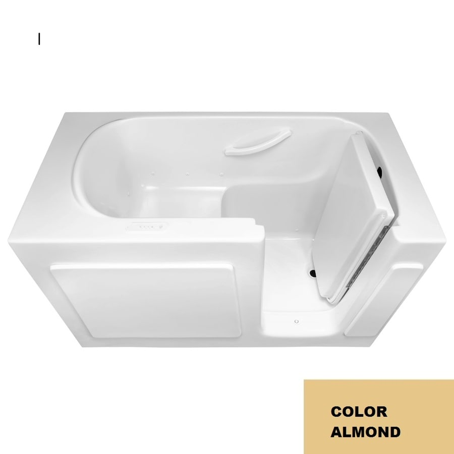 Laurel Mountain Westmont Iv 54-in L x 30-in W x 38-in H Almond Gelcoat/Fiberglass 1-Person-Person Rectangular Walk-in Air Bath