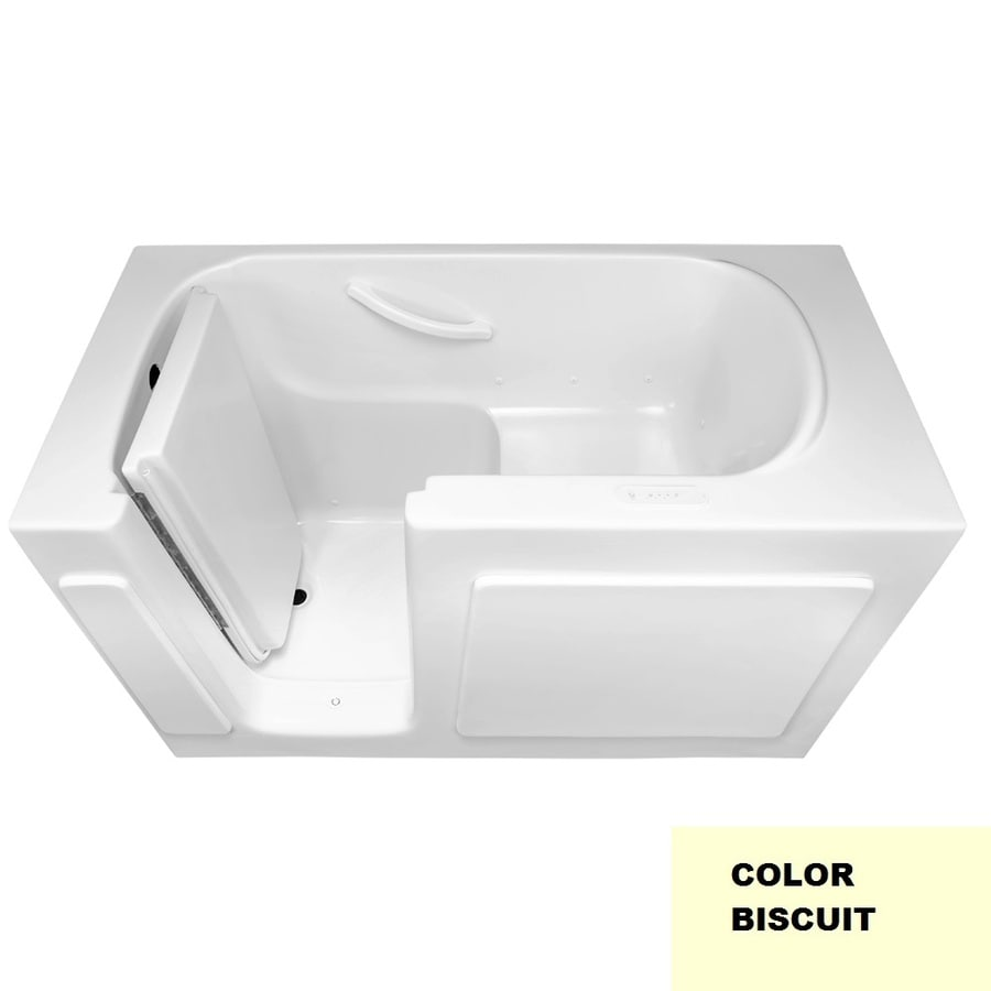 Laurel Mountain Westmont IV 54-in Biscuit Gelcoat/Fiberglass Walk-In Air Bath with Left-Hand Drain