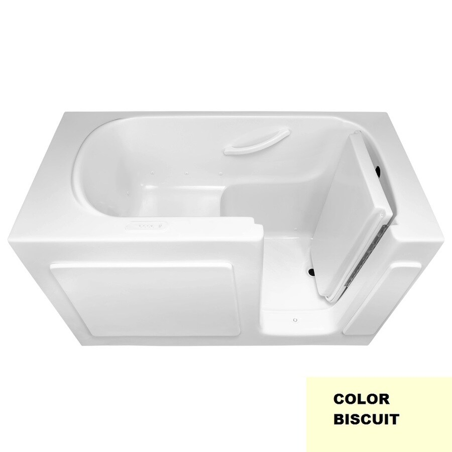 Laurel Mountain Westmont V 60-in Biscuit Gelcoat/Fiberglass Walk-In Air Bath with Right-Hand Drain