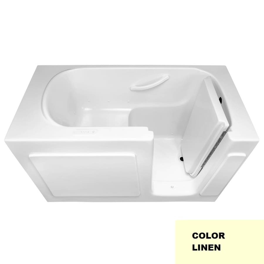 Laurel Mountain Westmont V 60-in Linen Gelcoat/Fiberglass Walk-In Air Bath with Right-Hand Drain