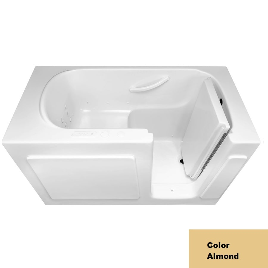 Laurel Mountain Westmont 54-in L x 30-in W x 38-in H 1-Person Almond Gelcoat/Fiberglass Rectangular Walk-in Whirlpool Tub and Air Bath