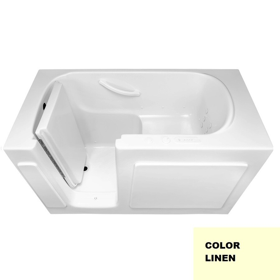 Laurel Mountain Westmont 54-in L x 30-in W x 38-in H 1-Person Linen Acrylic Rectangular Walk-in Whirlpool Tub and Air Bath