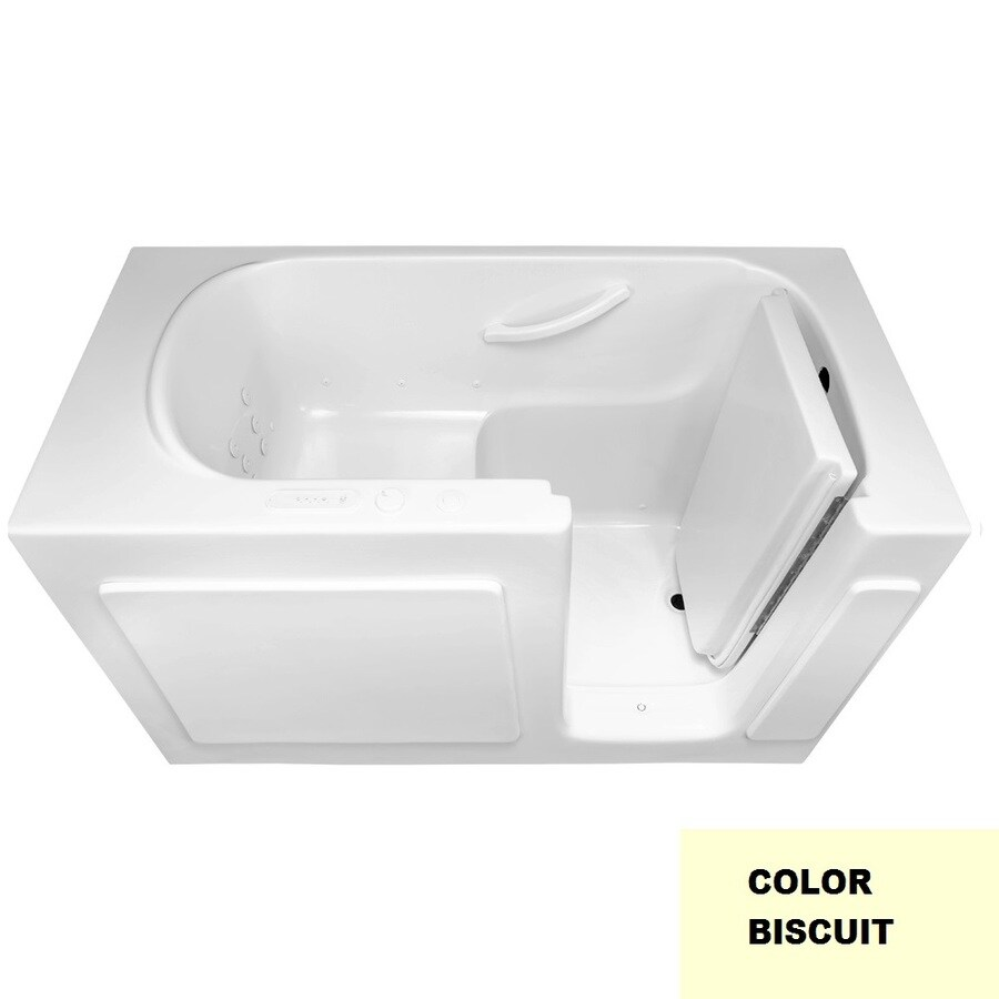 Laurel Mountain Westmont 60-in Biscuit Acrylic Walk-In Whirlpool Tub and Air Bath with Right-Hand Drain