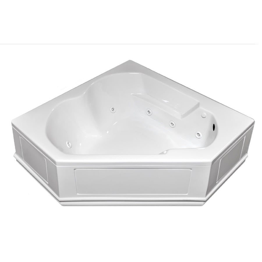 Laurel Mountain Dual Corner Plus Skirted 59.625-in White Acrylic Skirted Whirlpool Tub with Right-Hand Drain