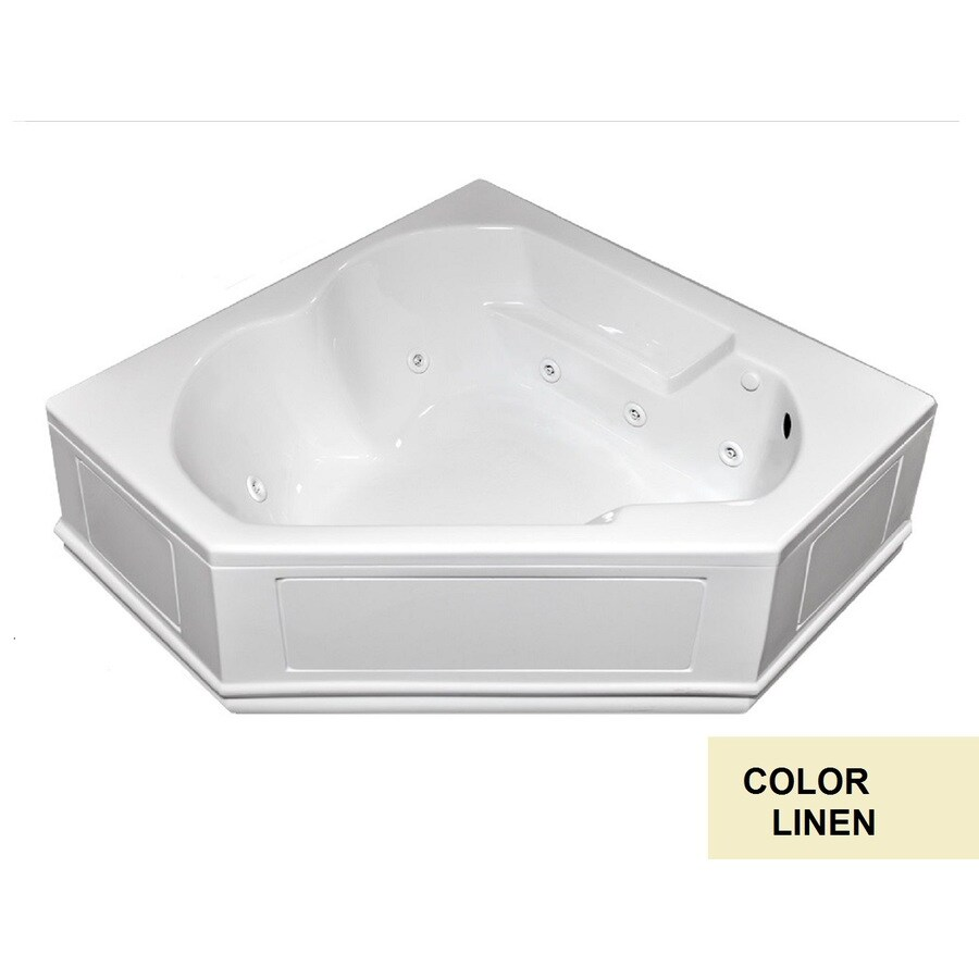 Laurel Mountain Dual Corner Plus Skirted 2-Person Linen Acrylic Corner Whirlpool Tub (Common: 60-in x 60-in; Actual: 20-in x 60-in x 60-in)