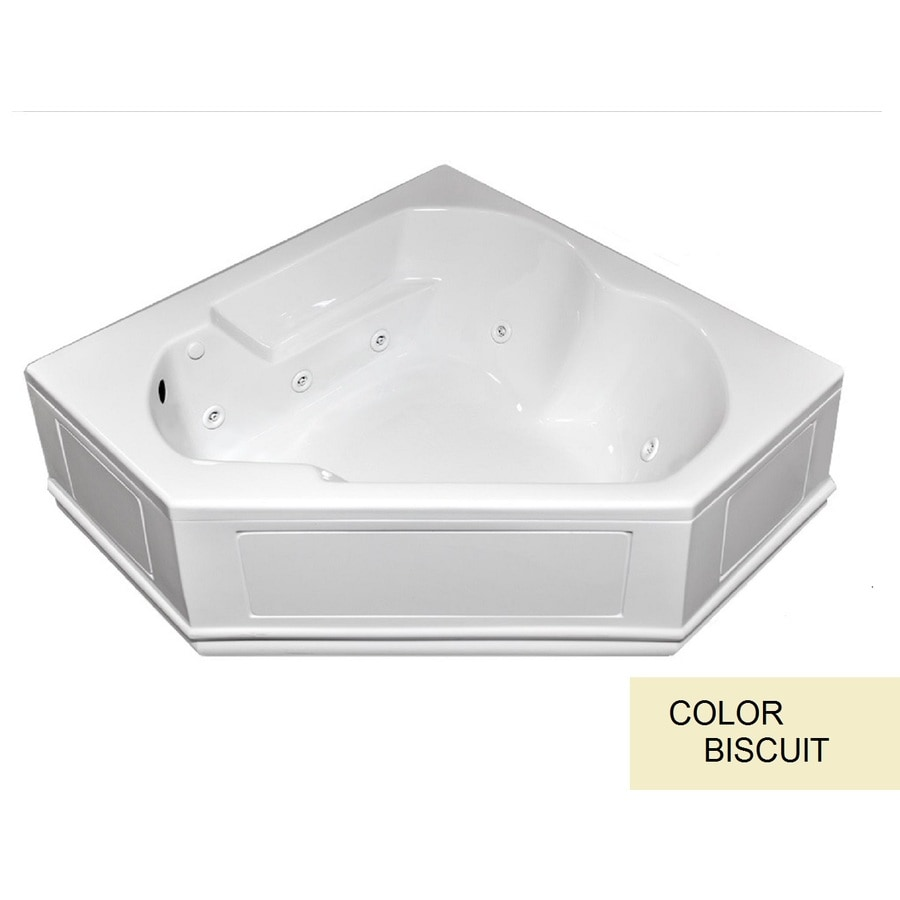 Laurel Mountain Dual Corner Plus Skirted 59.625-in Biscuit Acrylic Skirted Whirlpool Tub with Left-Hand Drain