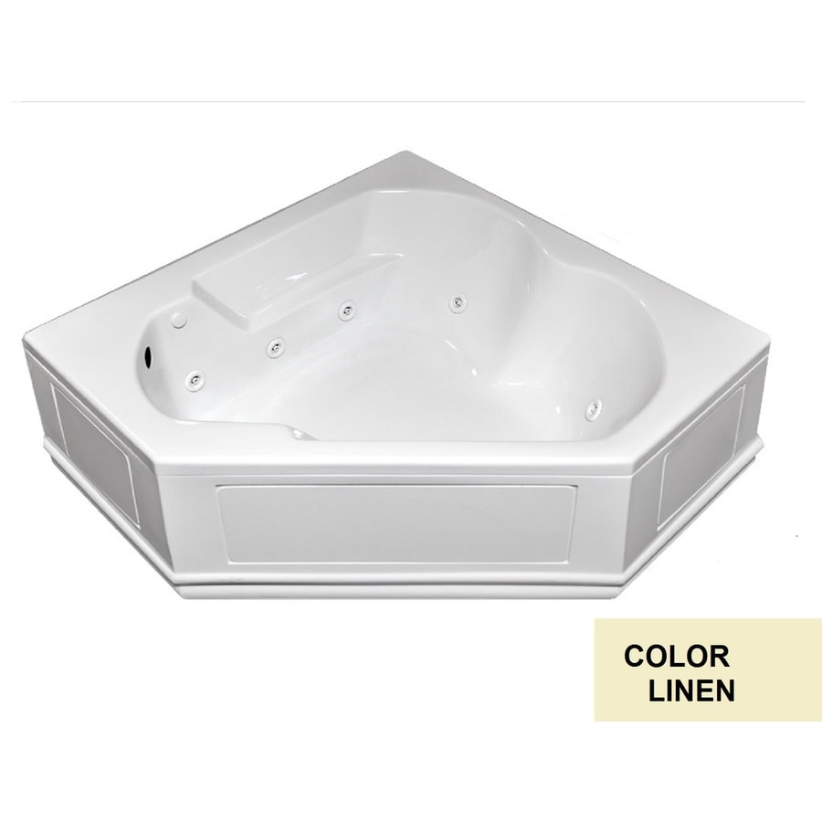 Laurel Mountain Dual Corner Plus Skirted 2-Person Linen Acrylic Corner Whirlpool Tub (Common: 60-in x 60-in; Actual: 20-in x 60-in x 60-in)