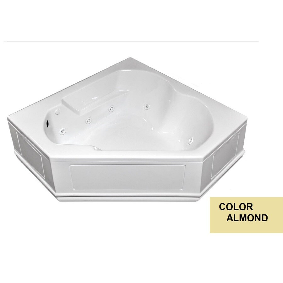 Laurel Mountain Dual Corner Plus Skirted 2-Person Almond Acrylic Corner Whirlpool Tub (Common: 60-in x 60-in; Actual: 20-in x 60-in x 60-in)