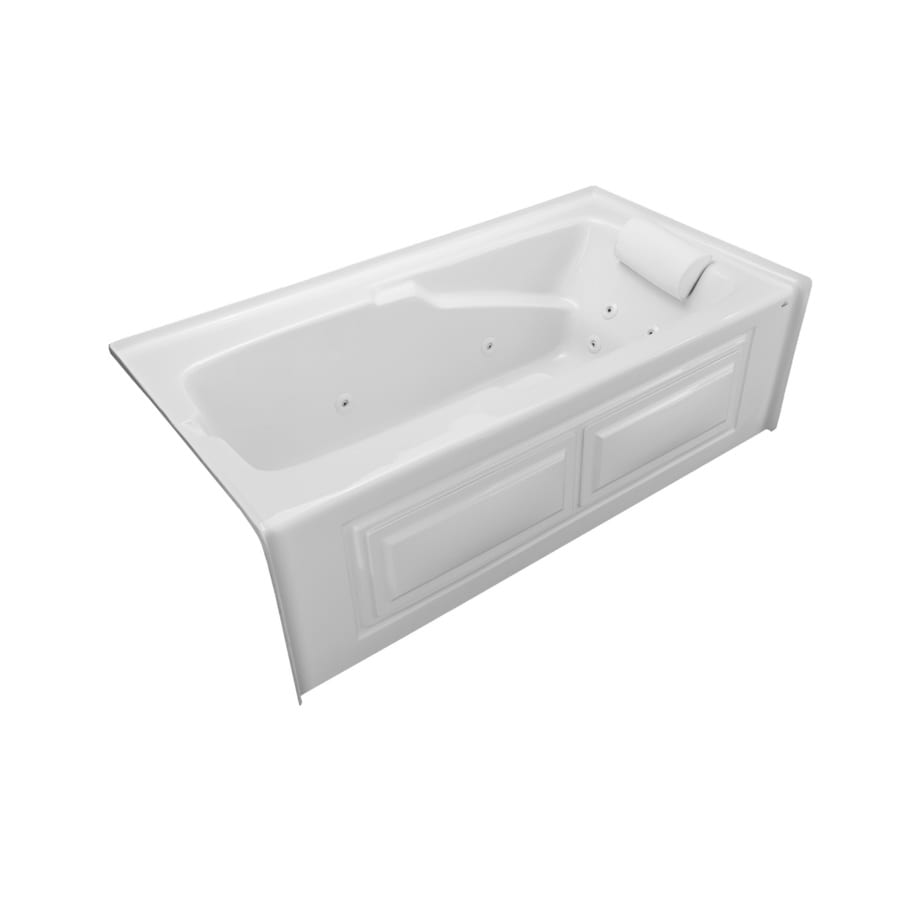 Laurel Mountain Mercer VIII 66-in White Acrylic Alcove Whirlpool Tub with Right-Hand Drain