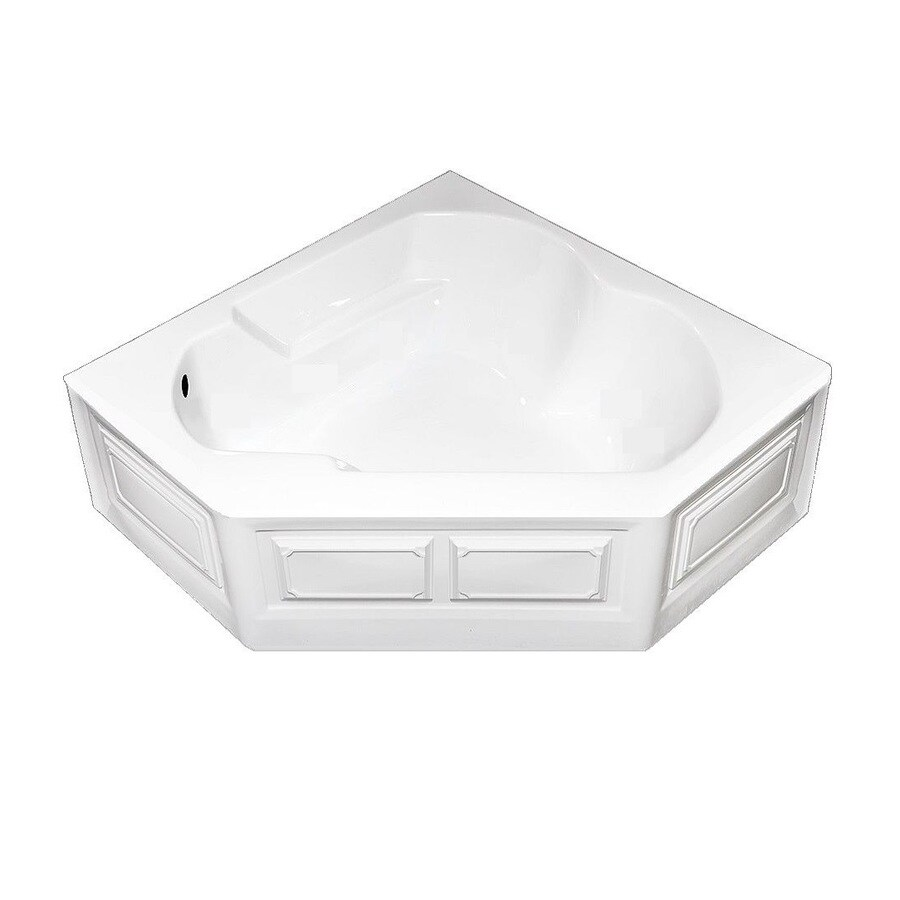 Laurel Mountain Dual Corner Plus Skirted 59.625-in White Acrylic Skirted Air Bath with Left-Hand Drain