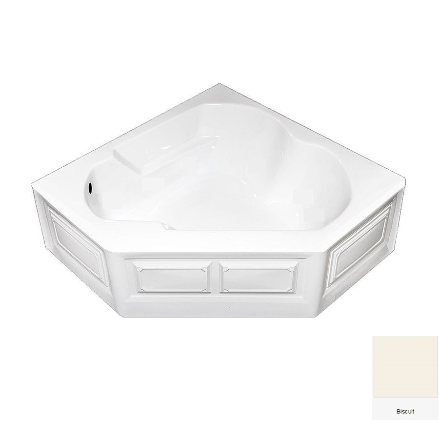 Laurel Mountain Dual Corner Plus 60-in Biscuit Acrylic Alcove Air Bath with Left-Hand Drain