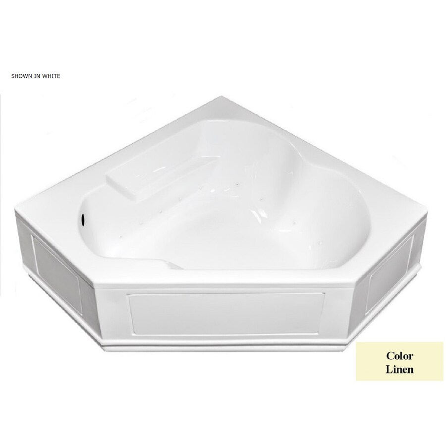 Laurel Mountain Dual Corner Plus 60-in Linen Acrylic Alcove Air Bath with Left-Hand Drain