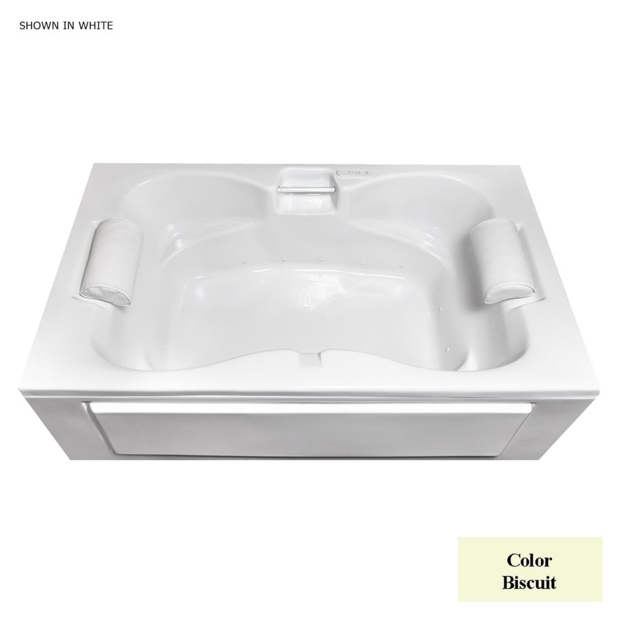 Laurel Mountain Seneca IV 60-in Biscuit Acrylic Skirted Air Bath with Front Center Drain