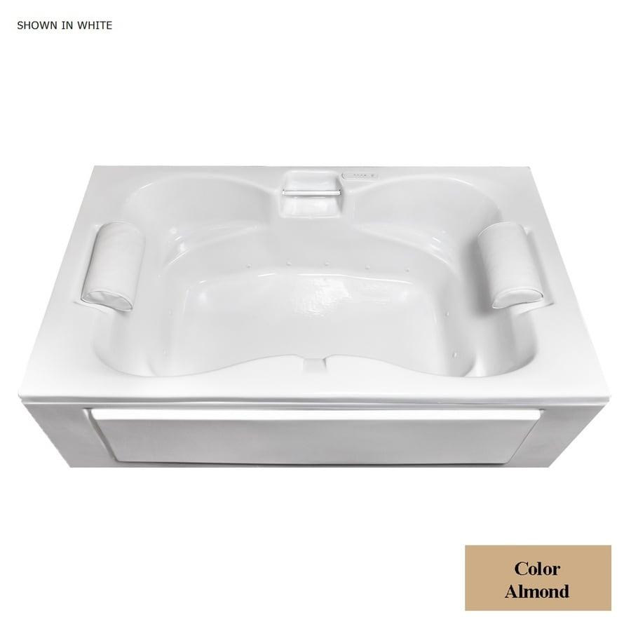 Laurel Mountain Seneca I 60-in Almond Acrylic Alcove Air Bath with Center Drain