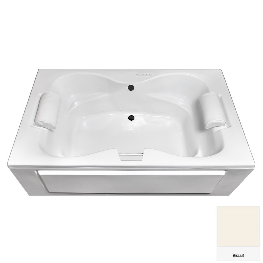 Laurel Mountain Seneca I 60-in L x 42-in W x 23-in H Biscuit Acrylic 2-Person Rectangular Skirted Air Bath