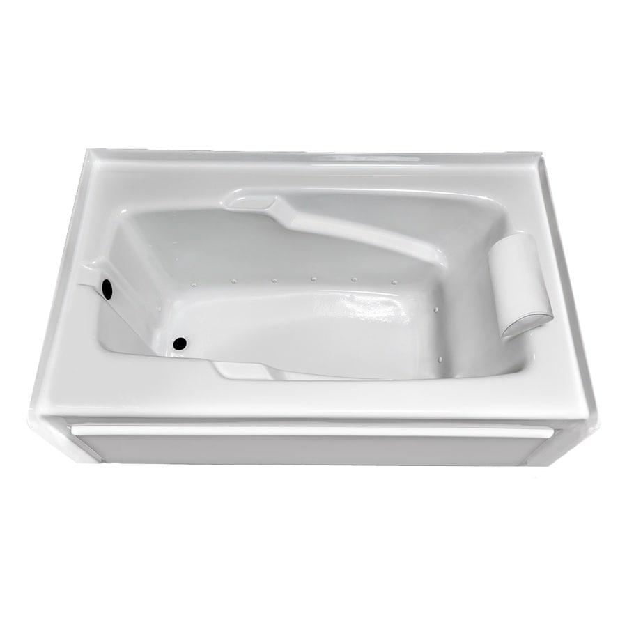 Laurel Mountain Mercer VIII 66-in White Acrylic Alcove Air Bath with Left-Hand Drain