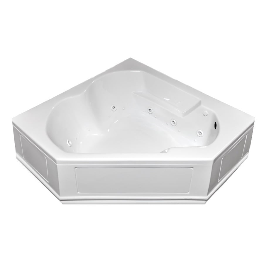 Laurel Mountain Dual Corner Plus Skirted 59.625-in White Acrylic Whirlpool Tub with Right-Hand Drain