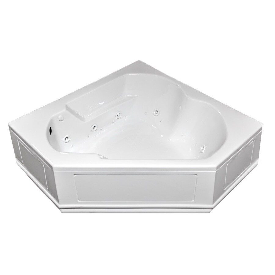 Laurel Mountain Dual Corner Plus Skirted 60-in L x 60-in W x 20-in H 2-Person White Acrylic Corner Whirlpool Tub and Air Bath