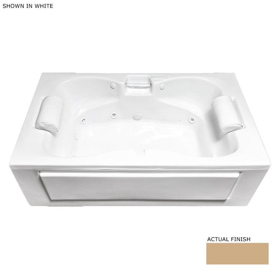 Laurel Mountain Seneca Alcove 60-in Almond Acrylic Alcove Whirlpool Tub and Air Bath with Center Drain