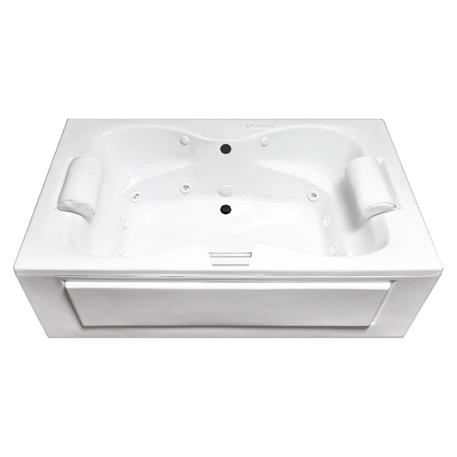 Laurel Mountain Seneca Alcove 60-in White Acrylic Alcove Whirlpool Tub and Air Bath with Center Drain